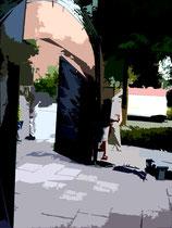 """""""Espelkamp geht durch die Mitte"""" E / Fotoveränderungen der verschiedenen Tore in Espelkamp als Tintenstrahldruck auf Fotopapier / Werkverzeichnis Nachträge / datiert 08.2002 / Maße b 21,0 cm * 29,7 cm"""
