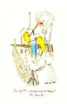 """""""Hindernisse von Pfaffen"""" / WVZ 1.276 / datiert 21.01.97 / Filzstift und diverse Farben auf Papier / Maße b 12,0 cm * h 18,0 cm"""