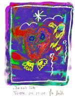 """""""Die erste Liebe"""" / Torrox, 04.12.2008 / Original Grafik mit Aquarellfarben und Ölkreide auf Papier / B 21,0 cm * H 29,7 cm / Werkverzeichnis 3.829"""