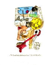 """""""Aus Landschaft abstürzende Zeit"""" Werkverzeichnis 1.239 / datiert 03.01.97 / Filzstift und Aquarell auf Papier / Maße b 18,0 cm * h 24,0 cm"""