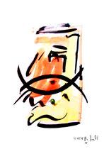 """""""o. T."""" 10 / Werkverzeichnis 1.690 / datiert 20.08.98 / Tusche und Aquarell auf Papier / Maße b 30,0 cm * h 42,0 cm"""