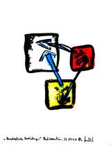 """""""Quadratische Verbindungen"""" / Werkverzeichnis 1.651 / datiert Bad Sobernheim, 22.07.1998 / Aquarell und Tusche auf Papier / Maße b 36,0 cm * h 48,0 cm"""