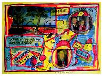 """""""Rudi, würg ihn"""" / Werkverzeichnis 1.630 / datiert 7/98 / Spiegelzeitschrift Doppelblatt versehen mit Farben und Text / Maße b 29,7 cm cm * h 42,0 cm"""