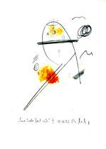 """""""Eine Seele löst sich II"""", Werkverzeichnis 573, vom 10.10.1995, Bleistift, Zigarre und Spülmittel auf Papier, Größe b 21,0 cm * h 29,7 cm"""