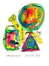 """""""Weltenmasken der Zeit"""" Werkverzeichnis 1.238 / datiert 03.01.97 / Filzstift und Aquarell auf Papier / Maße b 18,0 cm * h 24,0 cm"""