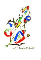 """""""o. T. 3"""" , WVZ 1.000 / datiert 30.06.96 / Filzstift und Aquarellfarben auf Papier / Maße b 12,0 cm * h 16,0 cm"""