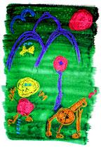 """""""Heute"""" / Werkverzeichnis 3.735 / datiert Torre del Mar, 21.11.2004 / Ölkreide, Filzstift und Aquarell auf Papier / Maße b 30,0 cm * h 42,0 cm"""