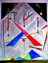 """""""Krieg"""" Gestringen, 09/92, Werkverzeichnis 310, Aquarell, Bleistift und Textilfarbe auf Papier, b 42,0 cm * h 56,0 cm"""