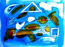 """""""Entschwinden"""" Gestringen, 11.92, Werkverzeichnis 318, Tusche, Kohle, Bleistift und Aquarell auf Papier, b 46,0 cm * 34,0 cm (2. Bild von oben rechts)"""