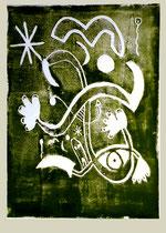 """""""o. T."""" 04.11.1995 / WVZ 832 Serie von 11 Arbeiten 3/11 Linoldruck grün auf Druckpapier / b 31,5 cm * h 47,5 cm"""