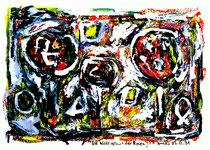 """""""Die Wiedergeburt der Rosen"""" Isny, den 05.12.1991, Werkverzeichnis 258, Tusche, Tinten und Ölkreide auf Papier, b 38,0 cm x h 30,0 cm"""
