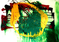 """""""Berlin"""" Gestringen, den 21.09.88, Werkverzeichnis 107, Öl-, Dispersionsfarben und Lack auf Papier, b 70,5 cm x h 50,3 cm"""
