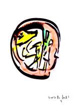 """""""o. T."""" 9 / Werkverzeichnis 1.689 / datiert 20.08.98 / Tusche und Aquarell auf Papier / Maße b 30,0 cm * h 42,0 cm"""