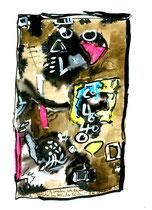 """""""Rekonstruierte Runen restlicher historischer Lücken!"""" / WVZ 2.997 / Bad Saarow, 19.07.00 / Aquarell und Tusche auf Papier / Maße 21,0 cm * h 29,7 cm"""