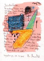 """""""In anderen Fernen"""" / Sprechbild vom 08.10.2008 als Farbzeichnung mit Aquarell und Text auf Papier / B 23,0 cm * H 31,0 cm / Werkverzeichnis 3.795"""