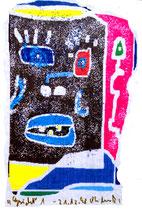 """""""Gesicht"""" 1 / Werkverzeichnis 1.817 / datiert 21.12.98 / PC-Zeichnung als Tintenstrahldruck auf Papier / Maße 10,5 cm * 15,0 cm"""
