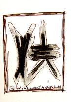 """""""Die Party ist vorbei"""", WVZ 1.182, datiert 10.12.96 Kohle und Filzstift auf Bütten Maße b 10,0 cm * h 16,0cm"""