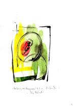 """""""Heilung von Besessenen"""" - Die Bibel - / WVZ 3.142 / datiert 07.09.00 / Tusche und Aquarell auf Papier / Maße b 21,0 cm * h 29,7 cm"""