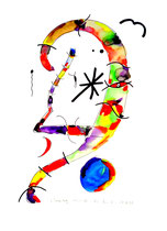 """""""Samstags, 21.55 Uhr"""", Werkverzeichnis 766, 21.10.1995, Aquarell und Textilfarbenfilzstifte auf Papier, Größe b 30,0 cm * h 40,0 cm"""