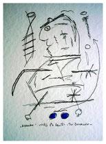 """""""November"""" - Der Verursacher - Werkverzeichnis 817, Bleistift und blaue Tinte auf Papier, aus 11/95, Größe b 30,0 cm * h 40,0 cm."""