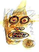 """Für den Vater flehn"" / WVZ 3.227 / datiert 06.11.00 / Filzstift, Bleistift, Asche und Aquarell auf Papier / Maße b 21,0 cm * h 29,7 cm"