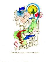 """""""Die Gesichter der Zeitmaschine"""" Werkverzeichnis 1.242 / datiert 03.01.97 / Filzstift und Aquarell auf Papier / Maße b 18,0 cm * h 24,0 cm"""
