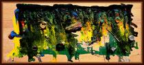 """""""Strandgut Nordstrand"""" Nordstrand, Sommer 1988, Werkverzeichnis 98, b 80,0 cm x h 34,5 cm. Am Strand von Nordstrand in dieser Anordnung aufgefundener Müll, auf Holzplatte montiert und mit Farben versehen."""