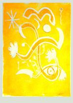 """""""o. T."""" 04.11.1995 / WVZ 833 Serie von 11 Arbeiten 4/11 Linoldruck gelb auf Druckpapier / b 31,5 cm * h 47,5 cm"""
