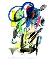 """""""Es können auch Frühlingszeiten gewesen sein - 4"""" Gestringen, 23.02.1997, Werkverzeichnis 1289, Filzstift und Aquarell auf Papier, b 30,0 cm * h 40,0 cm Als Vergleich ein Sprung von 5 Jahren 4. einer Serie von 4 Bildern"""