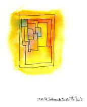 """""""Verblassendes Umfeld"""" / Werkverzeichnis 1.593 / datiert 24.05.98 / Aquarell und Textilfarbe auf Papier / Maße b 24,0 cm * h 32,0 cm"""