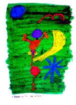 """""""Mondreiter im All"""" - 1. Arbeit einer Serie von 7 Arbeiten - WVZ 3.657 / datiert 2004 Ölkreide, Aquarell und Tusche auf Papier / Maße b 42,0 cm * h 59,4 cm"""