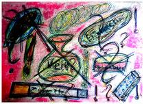 """""""Die Kur - Gedanken in Isny"""" Isny - 1991, Nachträge-Werkverzeichnis, Tusche, Tinte, Ölkreide, Lacke auf Papier, b 50,0 cm * h 40,0 cm"""