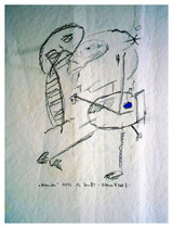"""""""November"""" - Blauer Fleck I - Werkverzeichnis 815, Bleistift und blaue Tinte auf Papier, aus 11/95, Größe b 30,0 cm * h 40,0 cm."""