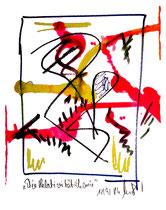 """""""Die Relativitätstheorie"""" Gestringen, 12/92, Werkverzeichnis 333 Textilfarbe und Kreide auf Papier b 18,0 cm * h 24,0 cm"""