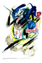 """""""Es können auch Frühlingszeiten gewesen sein - 3"""" Gestringen, 23.02.1997, Werkverzeichnis 1288, Filzstift und Aquarell auf Papier, b 30,0 cm * h 40,0 cm Als Vergleich ein Sprung von 5 Jahren 3. einer Serie von 4 Bildern"""