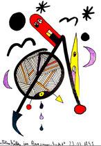 """""""Almhütten im Bergsonnenherbst I"""", 23.03.1995, Werkverzeichnis 500, Textilfarbe auf Papier, Größe b 11,0 cm * h 15,0 cm."""