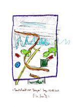 """""""Landschaft vor Lagos"""" Sayalonga, 05.08.2013. Originalgrafik. Größe b 21,0 cm * h 29,7 cm. Bleistift, Textilfarben und Kreide auf Papier. Werkverzeichnis 4158."""
