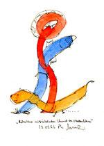 """""""Betrunkener mit pinkelndem Hund an Straßenlaterne"""" WVZ 990 / datiert 25.05.96 / Aquarell, Filzstift auf Papier / b 18,0 cm * h 24,0cm"""