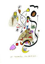 """""""o. T."""" / Werkverzeichnis 2.004 / datiert Bad Sobernheim am 28.03.99 / Farbzeichnung Textilfarbe und Filzstift auf Papier / Maße b 21,0 cm * h 29,7 cm"""