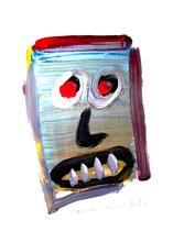 """""""Selbstbildnis"""" 2 / Werkverzeichnis 3.246 / datiert Wiesmoor, 11.12.00 / diverse Farben und Bleistift auf Papier / Maße b 30,0 cm * h 42,0 cm"""