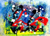 """""""Blut, Erde, Schnee, Wasser"""" Gestringen, 05/1992, Werkverzeichnis 293, Dispersionsfarben, Ölfarben und diverse weitere Farben auf Papier, aufgeklebt auf Pappe b 40,0 cm * h 30,0 cm"""