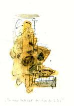 """""""In meiner Mutter Kleid"""" / WVZ 3.220 / datiert 6.11.00 /Bleistift, Asche, Aquarell auf Papier / Maße b 21,0 cm * h 29,7 cm"""