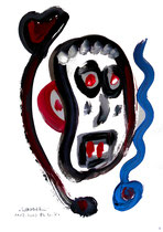 """""""Selbstbildnis"""" 5 / WVZ 3.249 / datiert Wiesmoor, 11.12.00 / diverse Farben auf Papier / Maße b 30,0 cm * h 42,0 cm"""