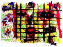 """""""Am Fenster"""" Isny, den 03.12.1991, Werkverzeichnis 256, Tusche, Tinten und Ölkreide auf Papier, b 40,0 cm x h 30,0 cm"""