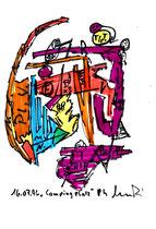 """""""Groß-Leuthen"""" WVZ 1.009 / datiert 14.07.96 / Filzstift und Bleistift auf Papier / Maße b 12,0 cm * h 16,0 cm"""