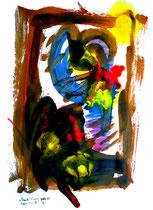 """""""Durchs Fenster geblickt"""" - 3. Arbeit einer Serie von 7 Arbeiten - WVZ 3.659 / datiert 2004 Ölkreide, Aquarell und Tusche auf Papier / Maße b 42,0 cm * h 59,4 cm"""