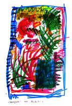 """""""Sperrgarten"""" - 6. Arbeit einer Serie von 7 Arbeiten - WVZ 3.662 / datiert 2004 Ölkreide, Aquarell und Tusche auf Papier / Maße b 42,0 cm * h 59,4 cm"""