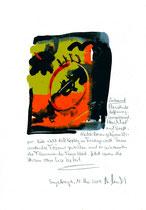 """""""Verbrannt"""" / Sayalonga, 11. Mai 2014 """"Sprechbild"""" mit vorstehendem Text. Original Grafik mit Tusche, Aquarell, Bleistift und Text auf Papier. B 21,0 cm * H 29,7 cm Werkverzeichnis 4187"""
