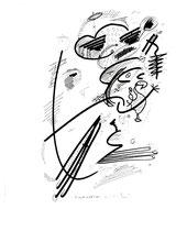 """""""Die Kreativitätstheorie"""" Zeichnungsserie von insgesamt 7 Arbeiten. Hier Blatt 3 von 10/95 / Werkverzeichnis 564 b 30,0 cm * h 40,0 cm"""