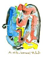 """""""Spreewald I"""", WVZ 1.016 / datiert 16.07.1996 / Tusche und Aquarell auf Papier / Größe b 12,0 cm * 16,0 cm"""